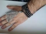Чётки 002 из гематита, тигрового глаза с серой кисточкой