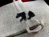 Серьга Медведь цвет Черный