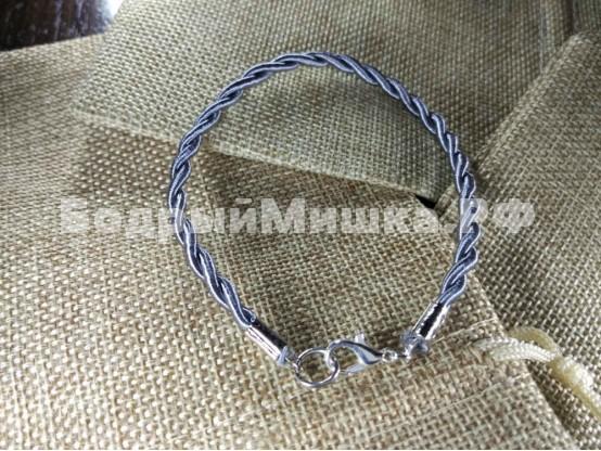 Браслет из нейлона плетеный 004 серый