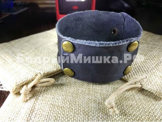 """Кожаный браслет """"Таирез"""" Темно-синий состаренный"""