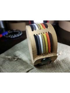 """Кожаный браслет """"Лемос"""" 006 Bear pride Натуральный, без окраса с замшевым шнуром."""