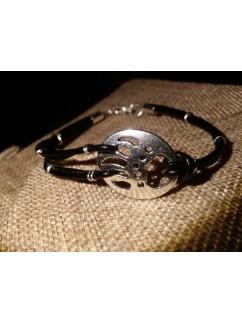 """Кожаный браслет """"Paw of the bear"""" 001 (черная кожа)"""