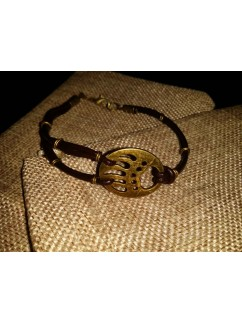 """Кожаный браслет """"Paw of the bear"""" 002 (коричневая кожа)"""