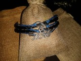 Браслет на вощеном шнуре: Синий
