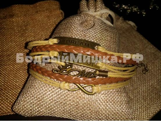 Браслет на вощеном шнуре: Коричневый